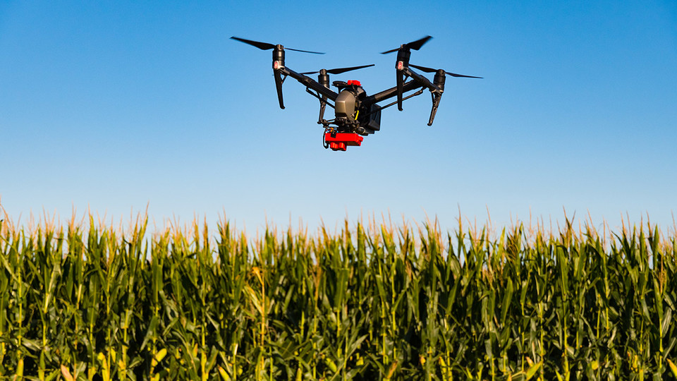 Drone used for research in Nebraska Extension's On-Farm Research Network.