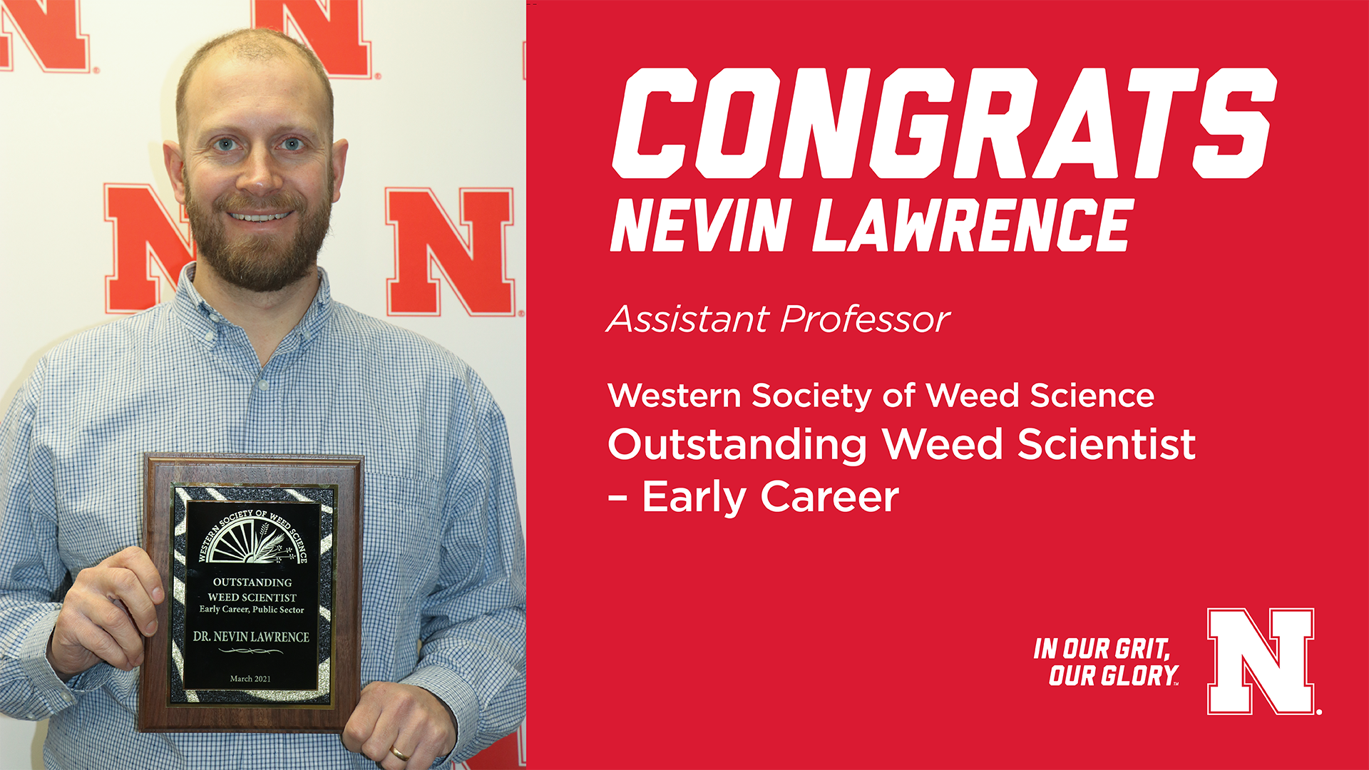 Nevin Lawrence recognized by the Western Society of Weed Science as the Outstanding Weed Scientist – Early Career.