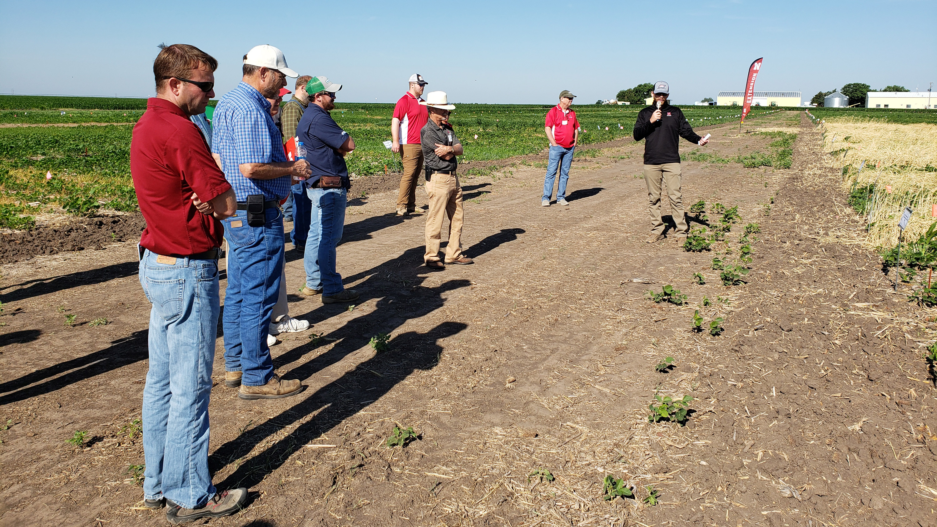 Trey Stephens, agronomy master's student, discusses a project of interaction of planting green and pre-emergence herbicides on weed control in soybean.