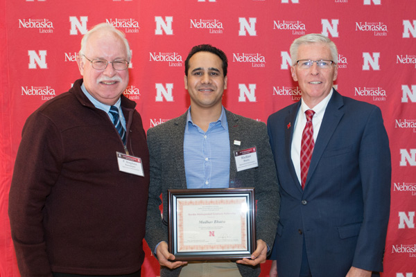 P. Stephen Baenziger, Madhav Bhatta and Archie Clutter, Agricultural Research Division Dean