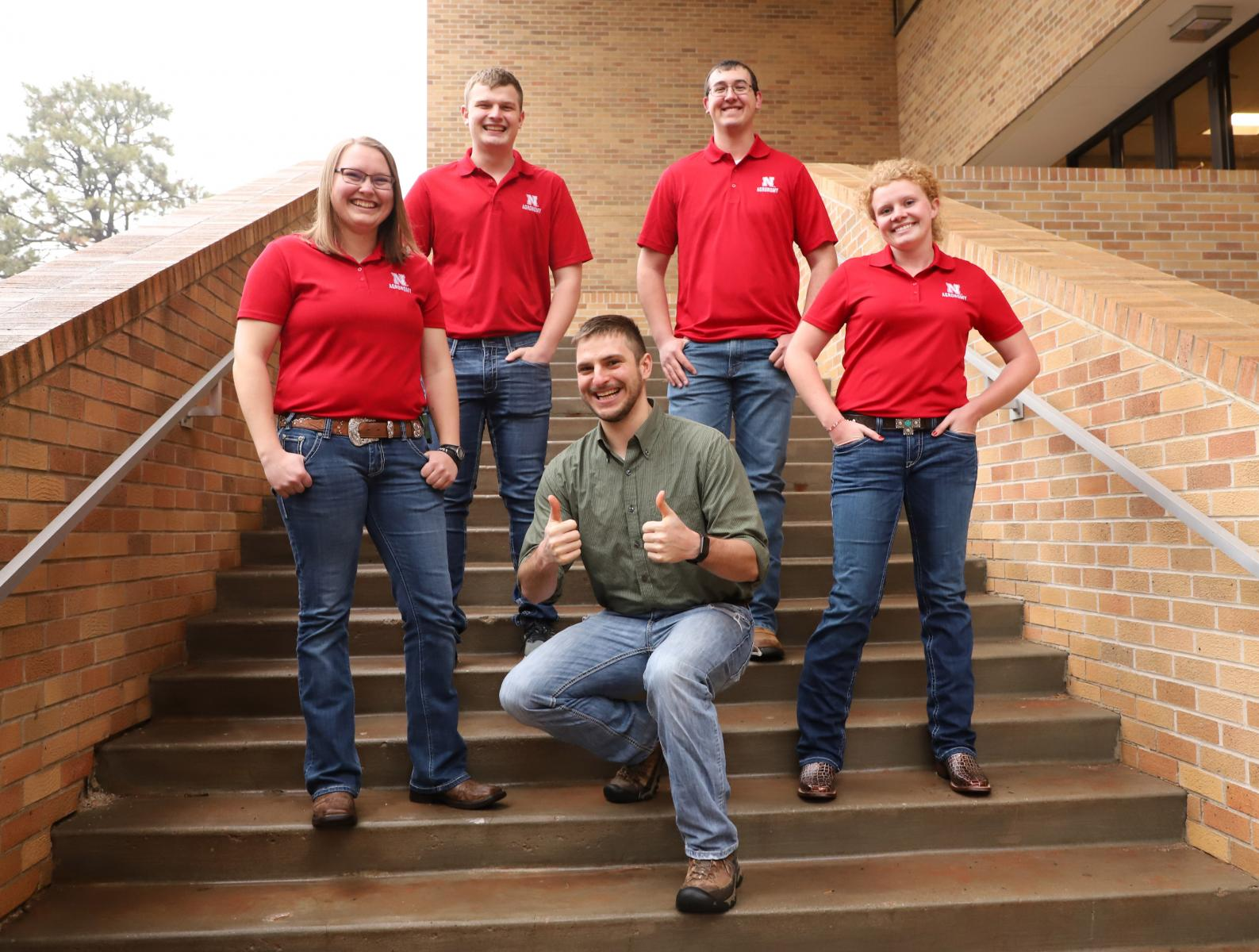 Members of Crops Judging Team and coach Adam Striegel