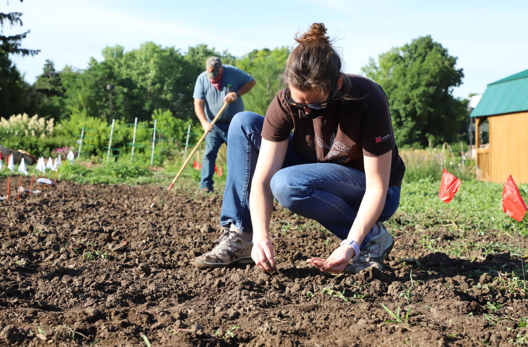 Meghan Sindelar and Tom Galusha plant crops in the UNL teaching garden
