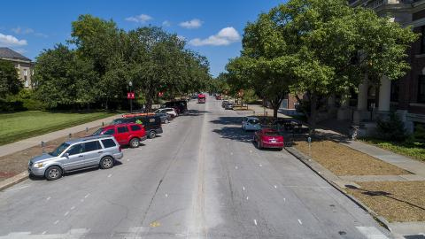 Craig Chandler | University Communication The renovation along R Street will temporarily close all parking between 12th and 14th streets starting July 18. When complete, the project will feature bike lanes, sidewalk improvements and parallel parking from 12th to 16th streets.