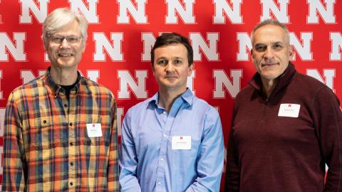 Donald Lee (from left), David Holding and David Lambe are honored at the 2020 Parents' Recognition Awards ceremony March 6. Loren Rye | Pixel Lab