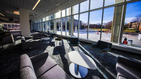 The Dinsdale Family Learning Commons privately funded renovation upgrades an East Campus landmark into a technology-rich collaborative environment and hub for innovation, research and learning. Craig Chandler | University Communication