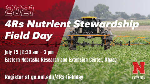 Nebraska Extension is holding the inaugural Nebraska 4Rs Nutrient Stewardship Field Day July 15 at the Eastern Nebraska Research and Extension Center.