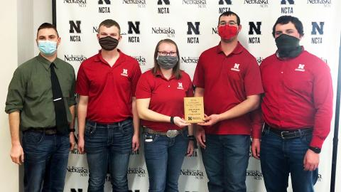 The University of Nebraska–Lincoln Crops Judging Team earns third place at the Nebraska College of Technical Agriculture Collegiate Crops Contest March 6 in Curtis, Nebraska. Coach Adam Striegel (from left) stands with team members Jared Stander, Katie Steffen, Korbin Kudera and Jacob Vallery.