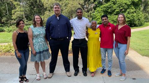 Agronomy and Horticulture Department Head Martha Mamo (third from right) celebrates with Elnazsadat Hosseinighdam (from left), Lindsey Overmyer, Shawn McDonald, Kailon Lang, Dinesh Panday and Jasmine Mausbach at the department graduation reception Aug. 13.