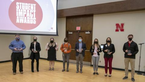 The annual Student Impact Awards were announced for 2020-21 by Student Leadership, Involvement, & Community Engagement at an afternoon reception on April 15.