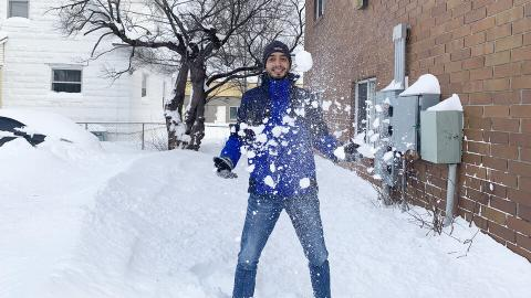 Juan Jiménez, a master's student in the Department of Agronomy and Horticulture, experienced snow for the first time. Jiménez arrived here from Colombia Jan. 22.