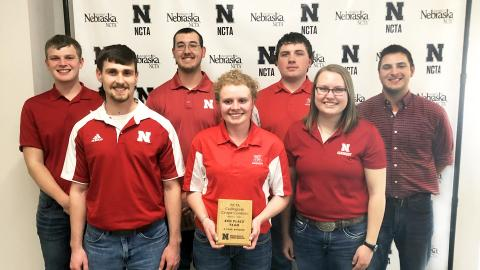 The University of Nebraska–Lincoln Crops Judging Team places third overall in the four-year division at the NCTA Collegiate Crops Contest March 7 in Curtis, Nebraska. The team includes Jared Stander (from left), Justin Zoucha, Korbin Kudera, Sarina Janssen, Jacob Vallery, Katie Jo Steffen and Adam Stiegel, team coach.