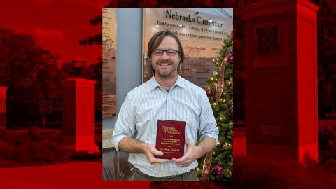 Dirac Twidwell receives the Nebraska Range and Conservation Endowment award from the Nebraska Cattlemen Foundation in December.