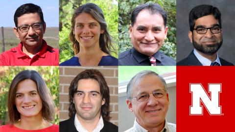 Agronomy and Horticulture faculty including Bijesh Maharjan (top, from left), Laila Puntel, Humberto Blanco, Javed Iqbal, Katja Koehler-Cole (bottom, from left), Patricio Grassini and Charles Wortmann will present at the 2021 Soil School.