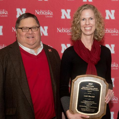 Roch Gaussoin and Leah Sandall with Holling Family award