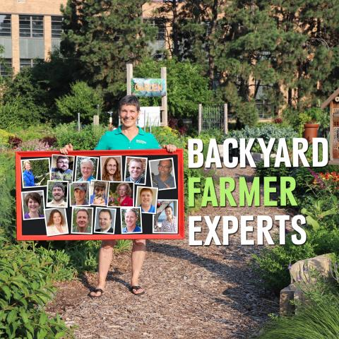 Kim Todd with picture of BYF panelists in BYF garden.