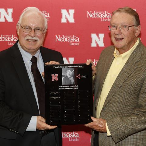 P. Stephen Baenziger (left) and Donald Weeks, emeritus professor of biochemistry