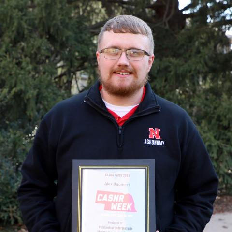 Alex Baumert, an agronomy sophomore, received the Outstanding Undergraduate Student Organization Member Award.
