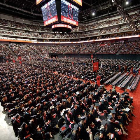 2018 undergraduate commencement ceremony in Pinnacle Bank Arena.