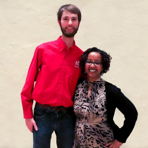 Kolby Grint, left, recipient of the Martin Massengale Outstanding Senior Award, with Martha Mamo, Department Head