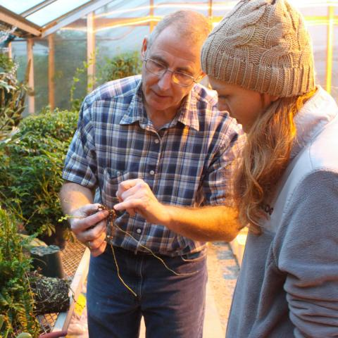 Associate Professor of Practice Stacy Adams with student in Horticulture class Colleen Ocken.