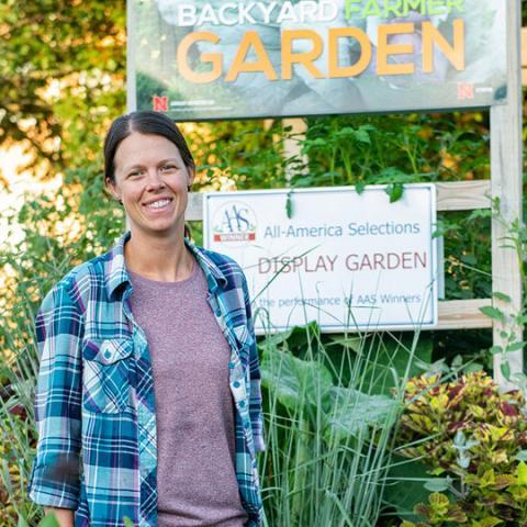Ann Powers in Backyard Famer Garden