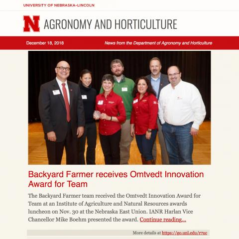 Department of Agronomy and Horticulture e-newsletter example.