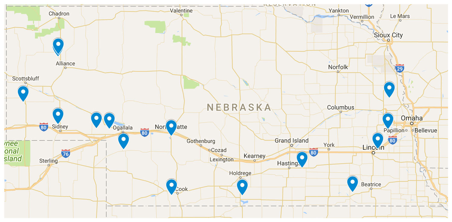 2018 Winter Wheat Field Day locations map